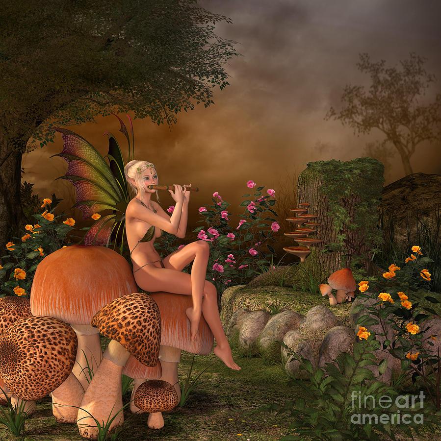 Elven Beautiful Woman With Flute Digital Art by Vahan Nersesyan