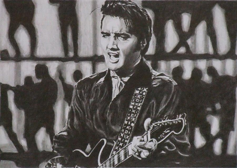 Elvis Presley Drawing - Elvis - 68 Comeback by Mike OConnell