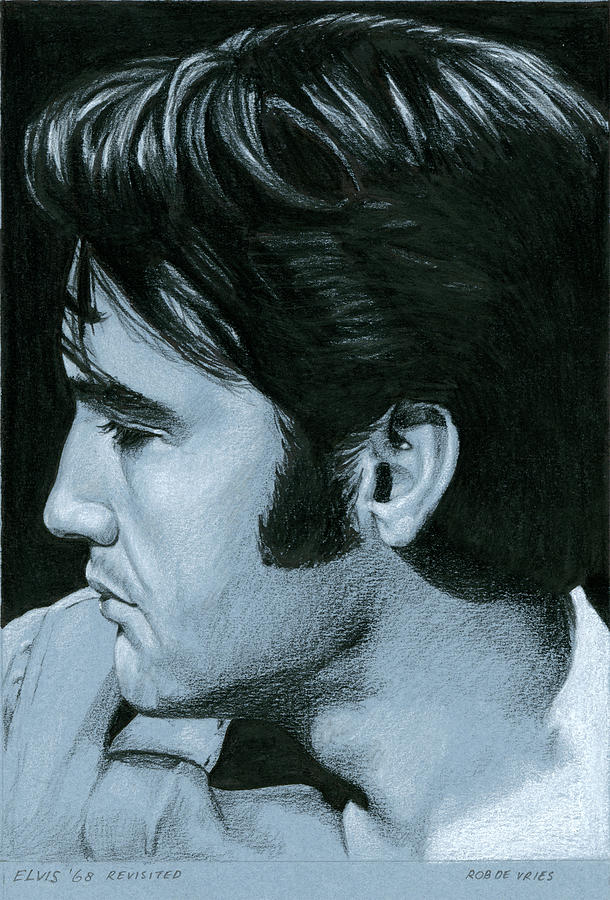 Elvis Drawing - Elvis 68 revisited by Rob De Vries