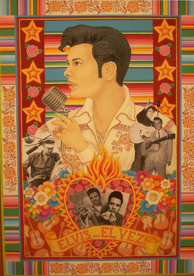 Icons Painting - Elvis And El Vez by Robert Quijada