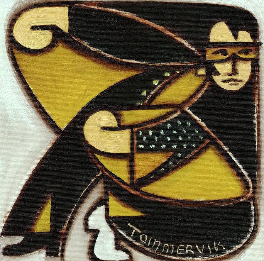 Elvis Painting - Elvis Black Jump Suit Art Print by Tommervik