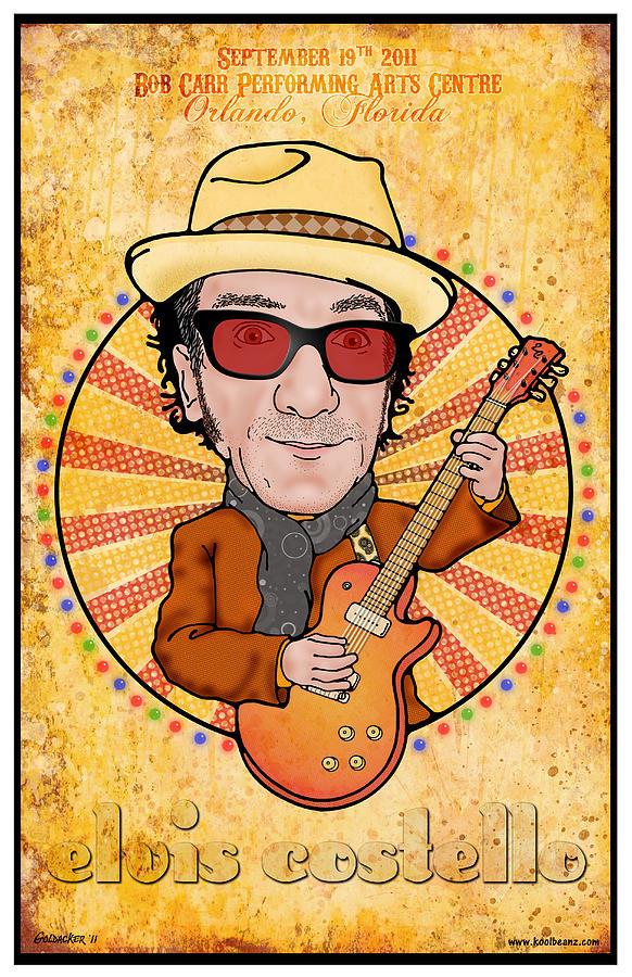 Elvis Costello Digital Art - Elvis Costello by John Goldacker