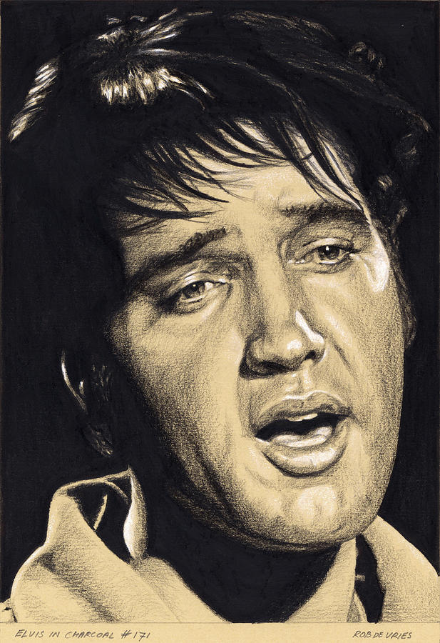 Elvis Drawing - Elvis in Charcoal no.171, No title by Rob De Vries
