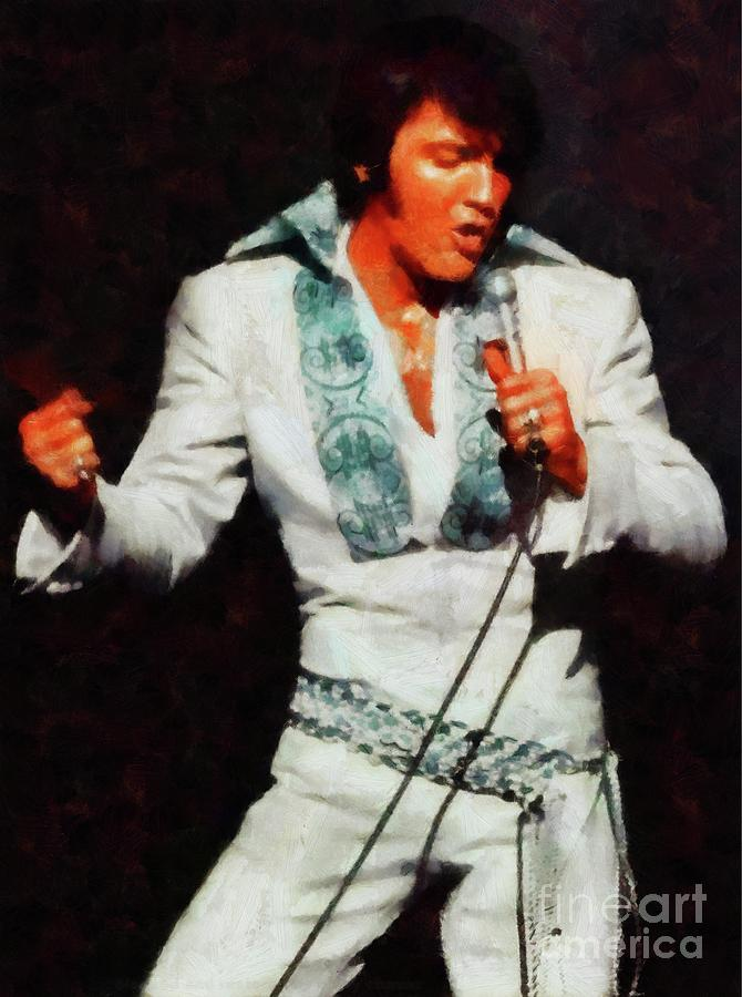 Music Painting - Elvis Presley, Rock and Roll Legend by Esoterica Art Agency