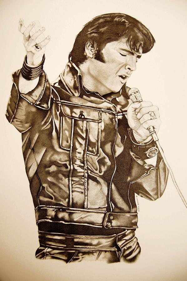 Portrait Drawing - Elvis The 68 Comeback Special by Dennis Jackson