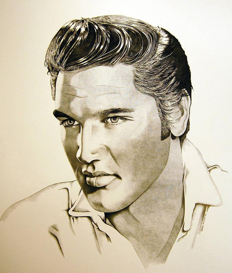Portrait Drawing - Elvis  The Early Years by Dennis Jackson