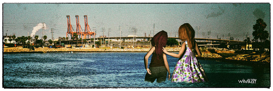 Long Beach Digital Art - Knee Deep Looking At The Port by Bob Winberry