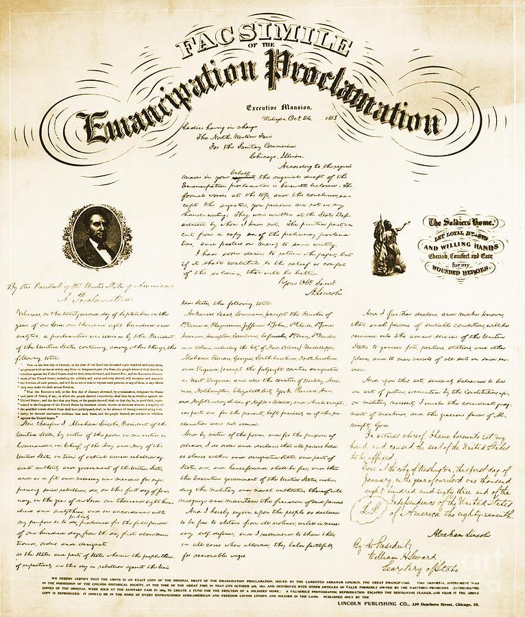 Emancipation Proclamation Photograph - Emancipation Proclamation by Photo Researchers