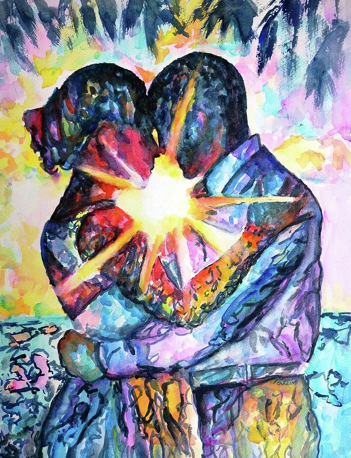 Embracing Couple In Love Painting by Carlin Blahnik ...