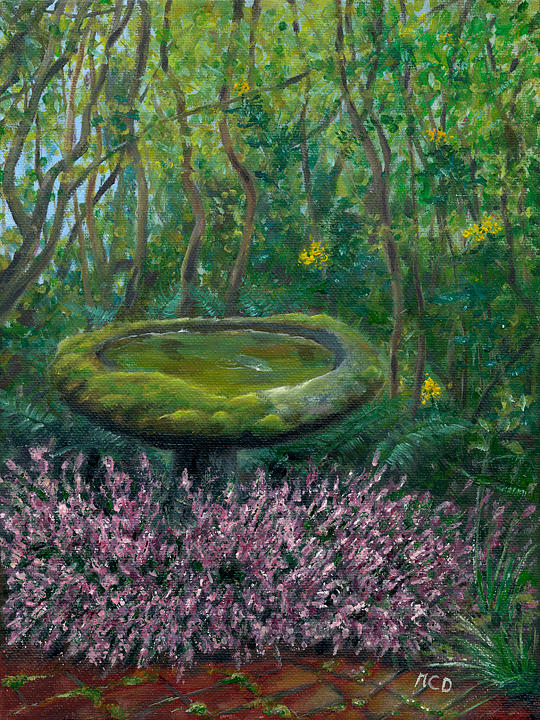 Bird Bath Painting - Embracing Moss by Marie-Claire Dole