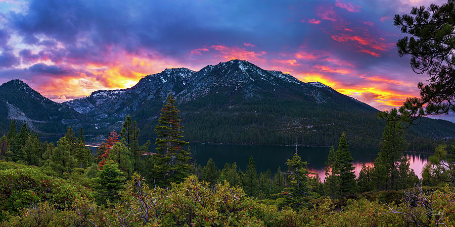 Emerald Bay Secret Sunset Panorama by Brad Scott by Brad Scott