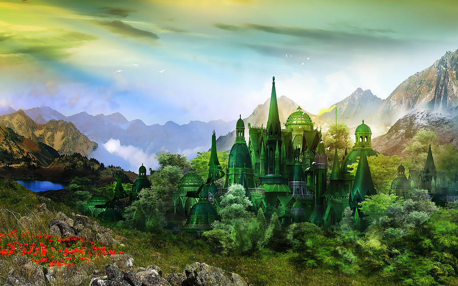Landscape Digital Art - Emerald City by Mary Hood