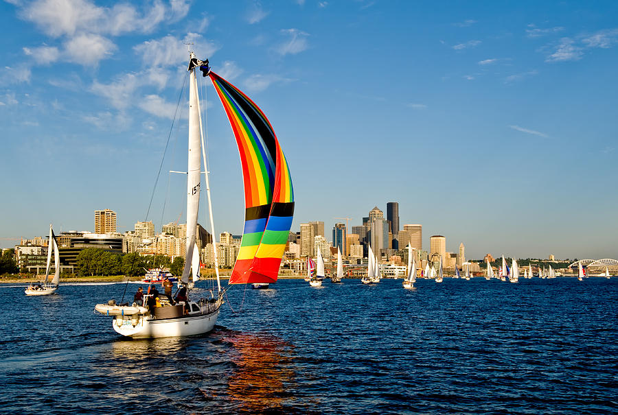 Seattle Photograph - Emerald City Sail by Tom Dowd