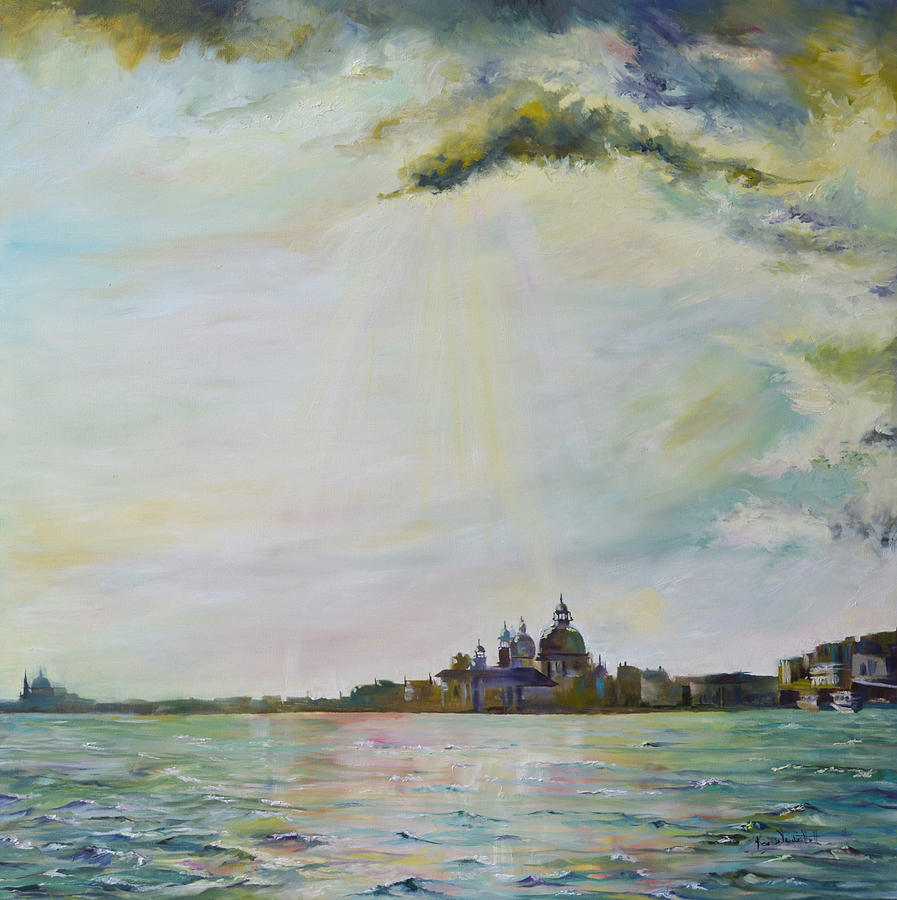 Cityscape Painting - Emerald City Venice by Ksenia VanderHoff