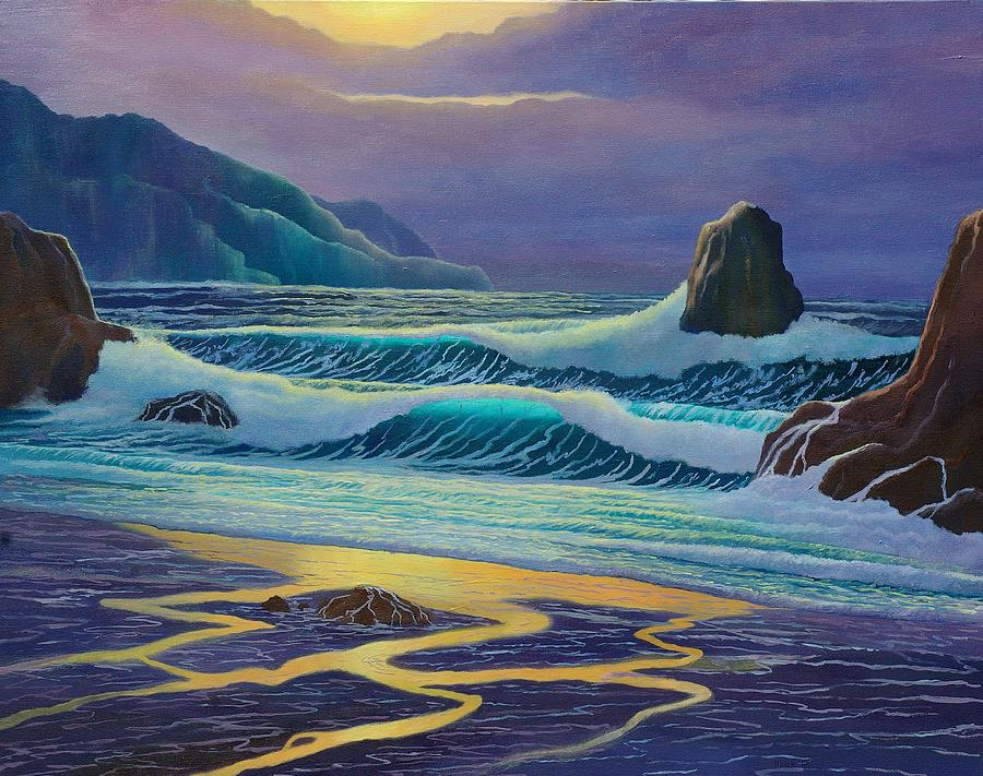 Ocean Painting - Emerald Cove by Mark Regni