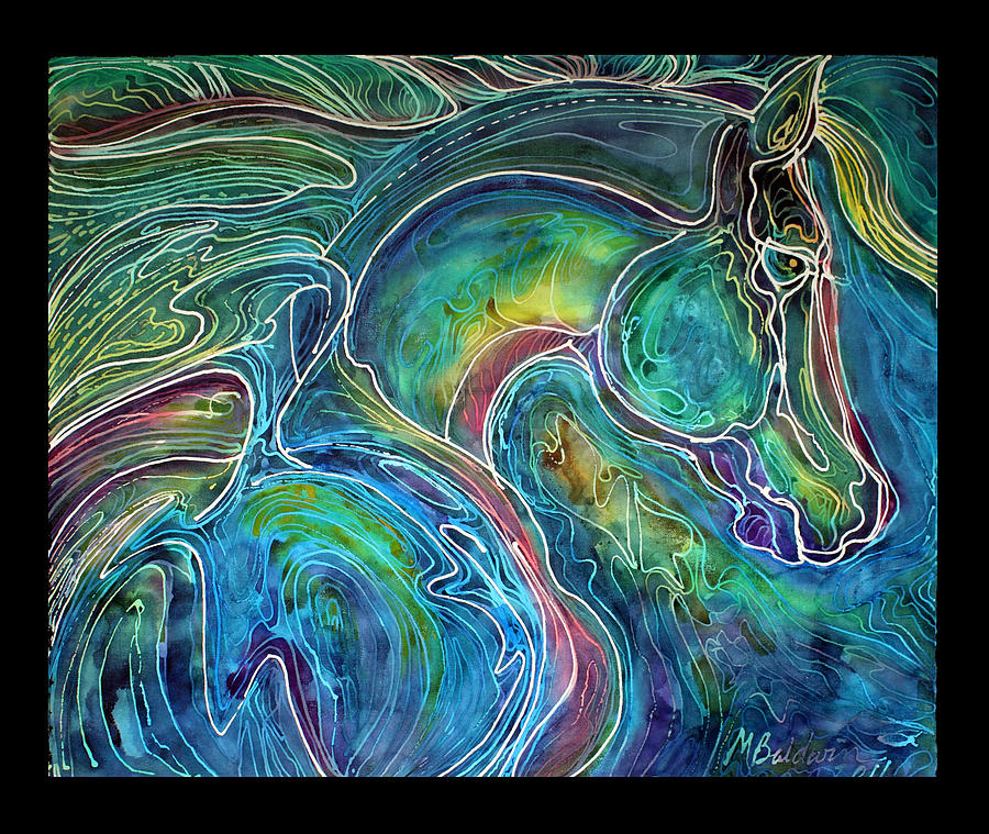 Horse Painting - Emerald Eye Equine Abstract Batik by Marcia Baldwin