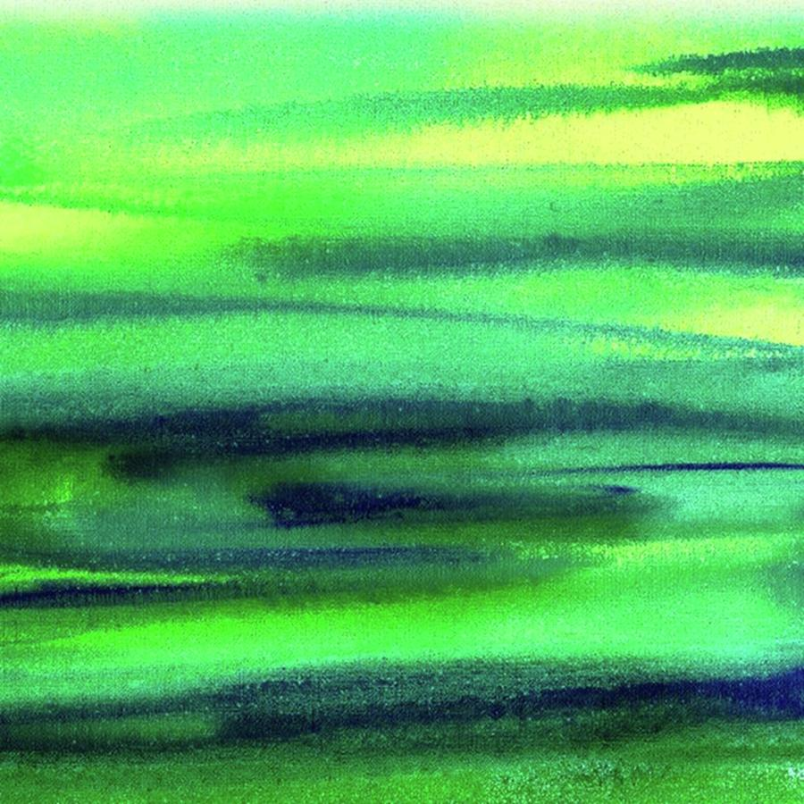 Emerald Painting - Emerald Flow Abstract Painting by Irina Sztukowski