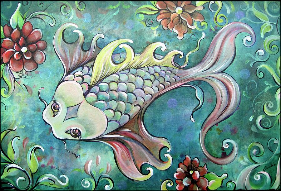 Emerald Koi Painting