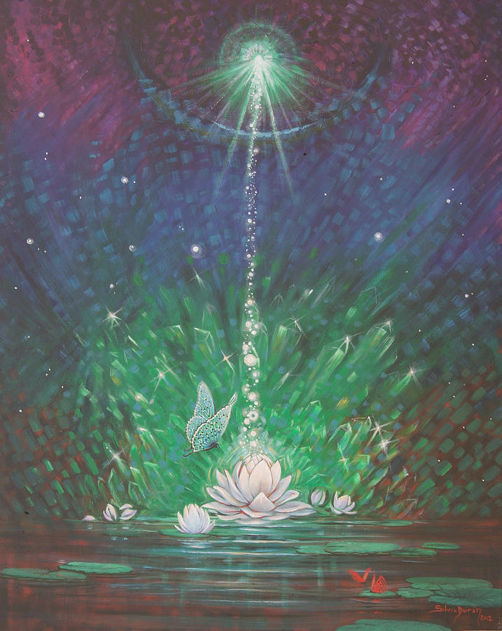 Water Lilies Painting - Emerald Light 2 by Silvia  Duran