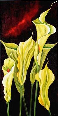 Floral Painting - Emerald Lilies by Luba Sterlikova