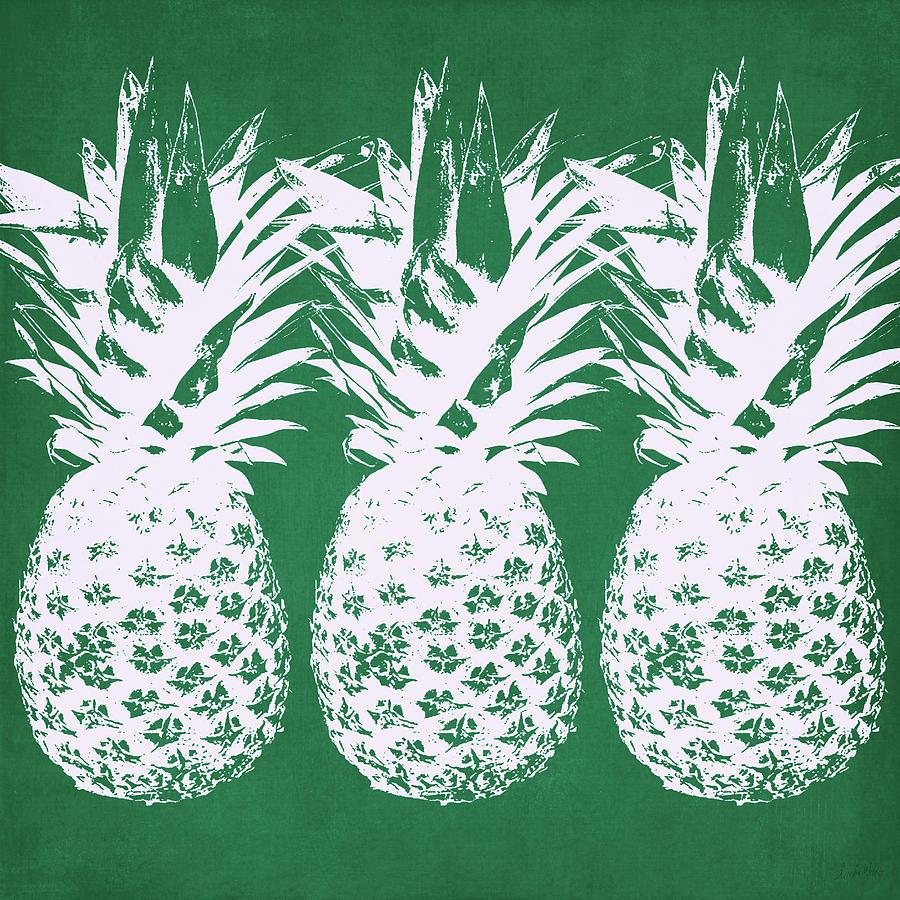 Pineapple Mixed Media - Emerald Pineapples- Art By Linda Woods by Linda Woods