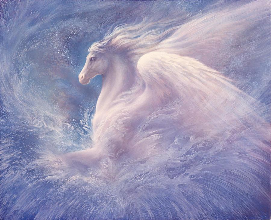 Pegasus Painting - Emergence by Jack Shalatain