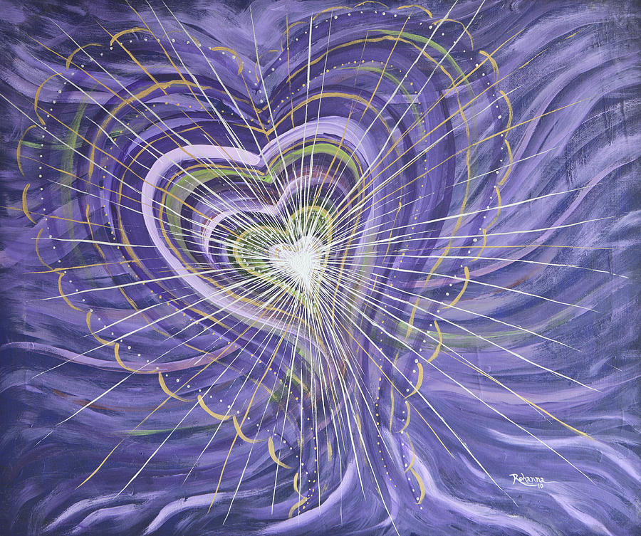 Violet Ray Painting - Emerging Heart by Judy M Watts-Rohanna