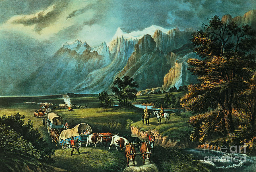 The Painting - Emigrants Crossing The Plains by Currier and Ives