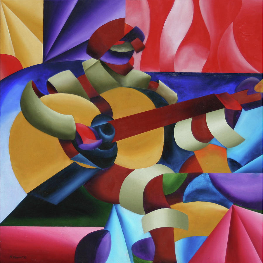 Abstract Painting - Emily With Guitar by Mark Webster