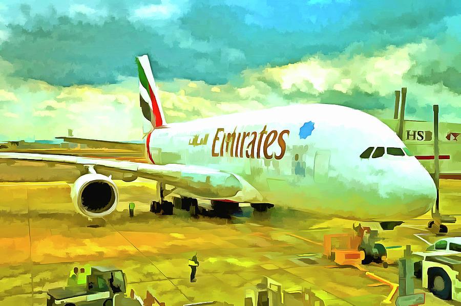 Emirates Airbus A380 Photograph - Emirates A380 Airbus Pop Art by David Pyatt