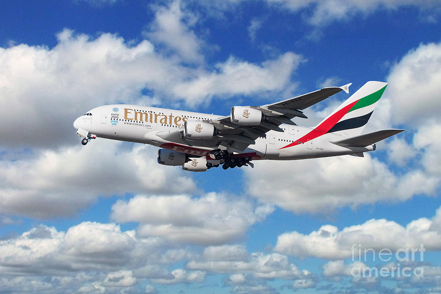 Emirates Digital Art - Emirates Airbus A380 by Airpower Art