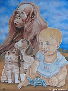 Baby Painting - Emma And Friends by Armando Bettencourt