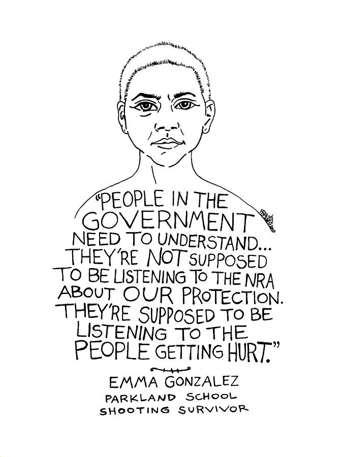 Pen And Ink Illustration Drawing - Emma Gonzalez by Rick Frausto