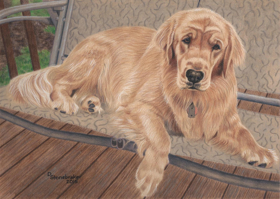 Golden Drawing - Emma On The Glider by Debbie Stonebraker