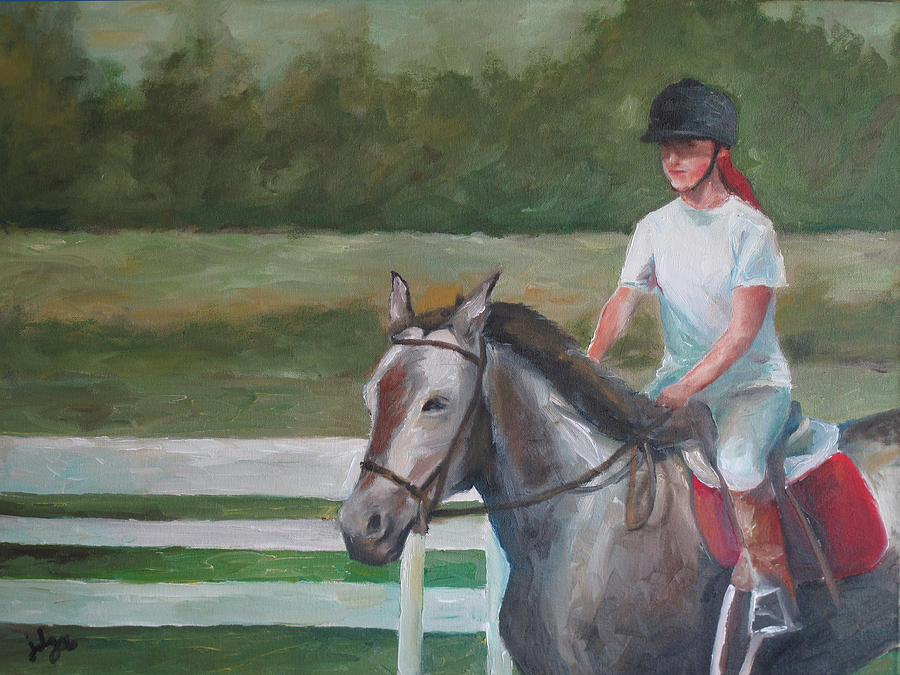 Horse Painting - Emma Riding by Julie Dalton Gourgues