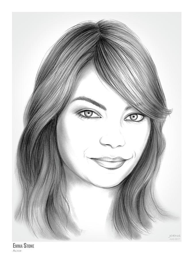 Emma Stone Drawing - Emma Stone by Greg Joens