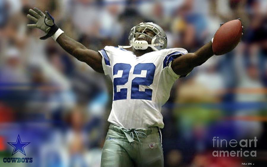26349f6baff Emmitt Smith Mixed Media - Emmitt Smith, Number 22, Running Back, Dallas  Cowboys