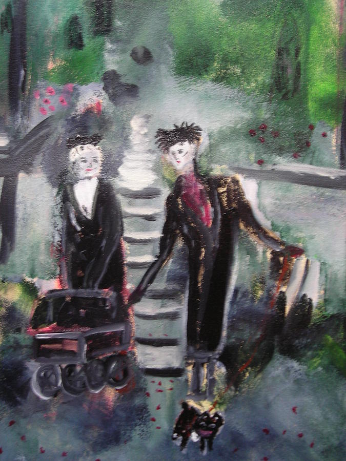 Emo Painting - Emo Goth Park Walk by R Bruce Macdonald