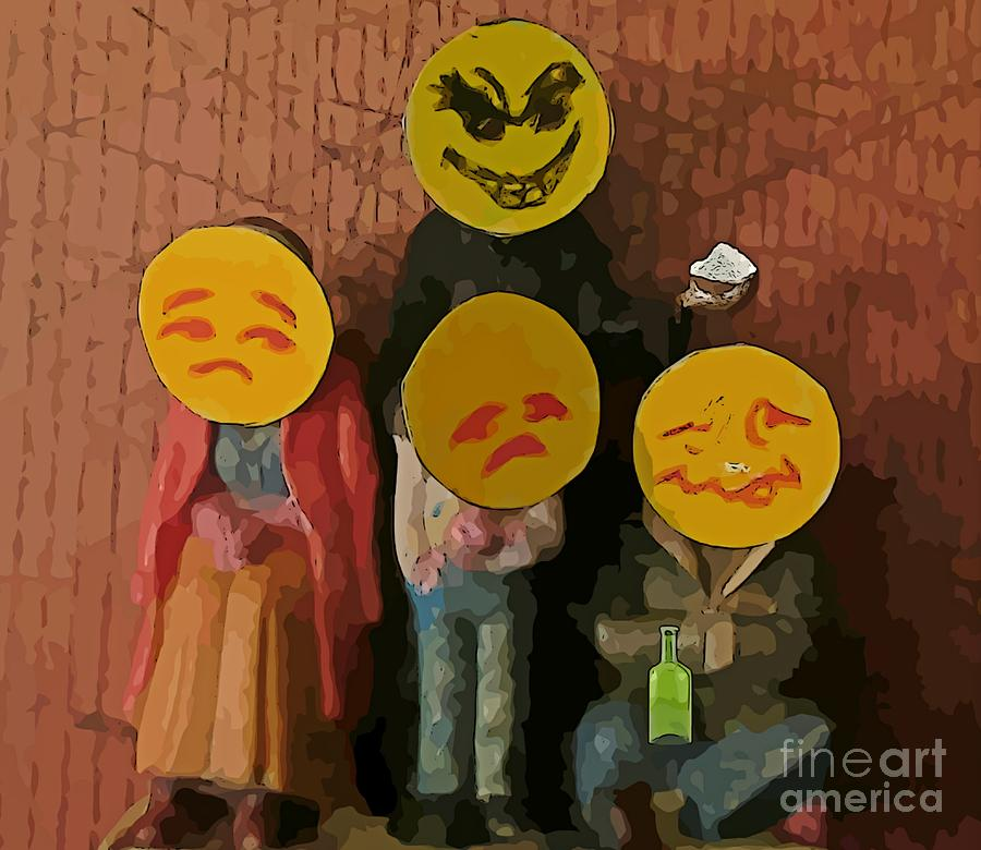 Substance Abuse Photograph - Emoji Family Victims Of Substance Abuse by John Malone