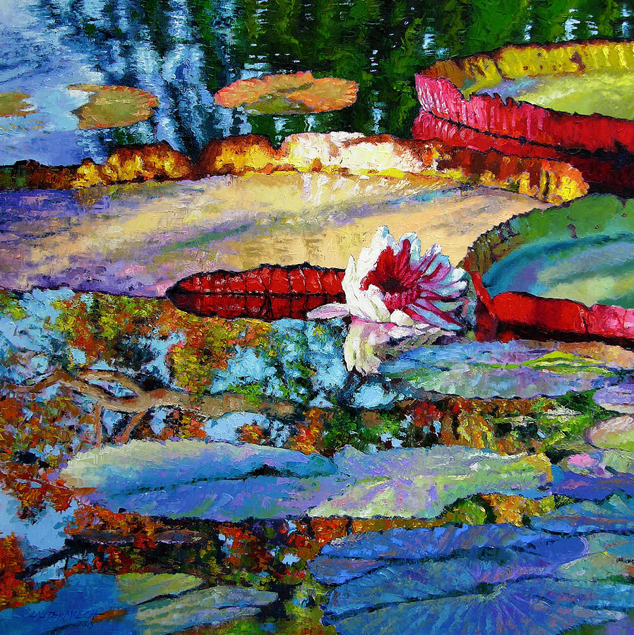 Garden Pond Painting - Emotions of Color Light and Texture by John Lautermilch