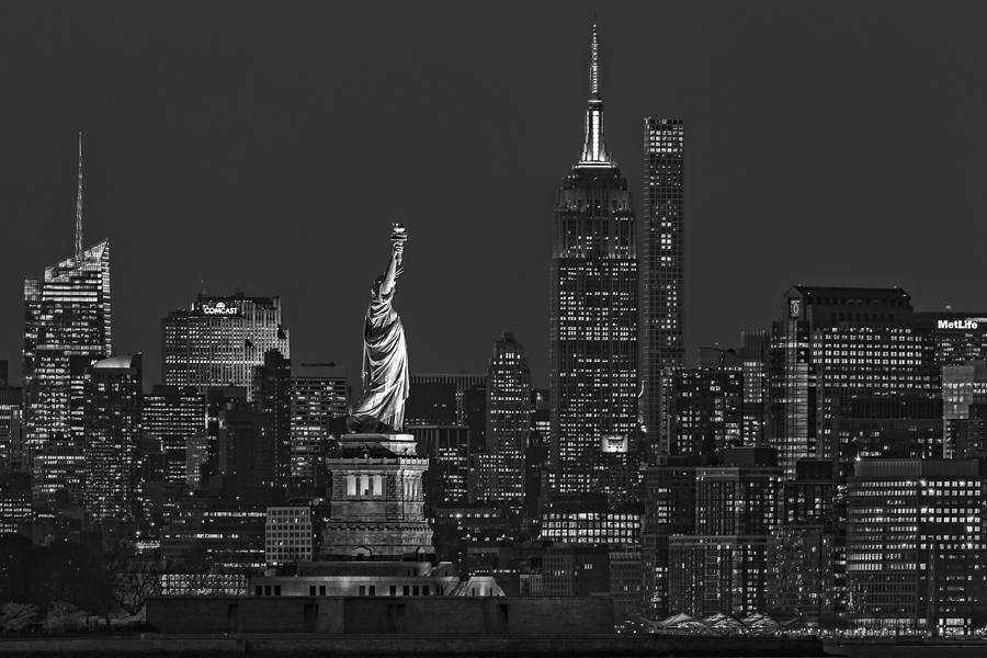 Empire State And Statue Of Liberty II BW by Susan Candelario