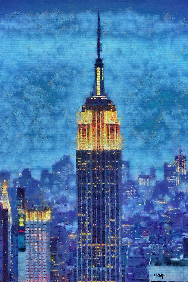 Empire State Building By Night Painting by Kai Saarto