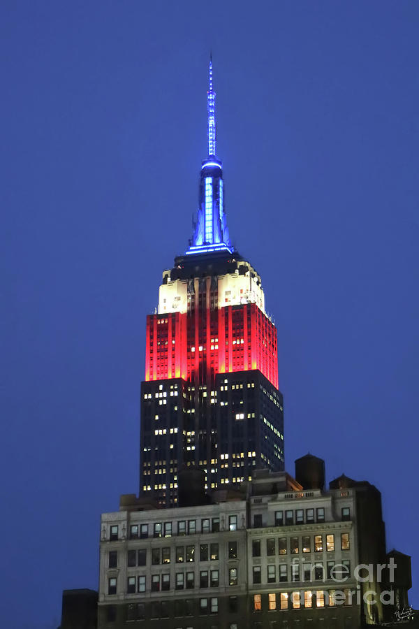 Empire State Building Lit In Red White And Blue Closeup Photograph