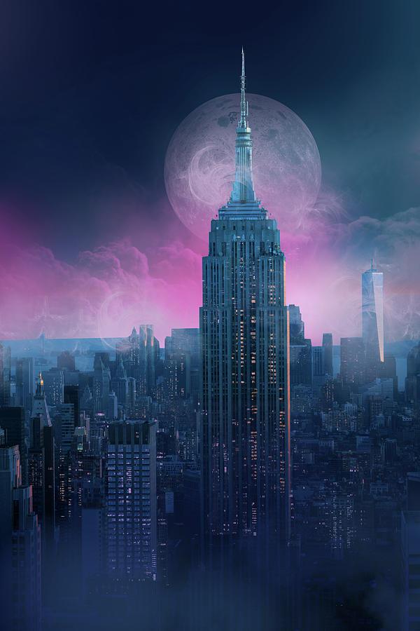 Empire State Building Moonlight Digital Art