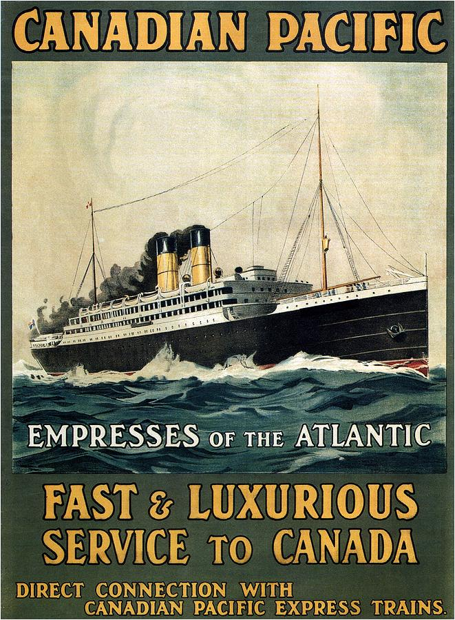 Canadian Pacific Mixed Media - Empress Of The Atlantic - Canadian Pacific - Steamship - Retro Travel Poster - Vintage Poster by Studio Grafiikka