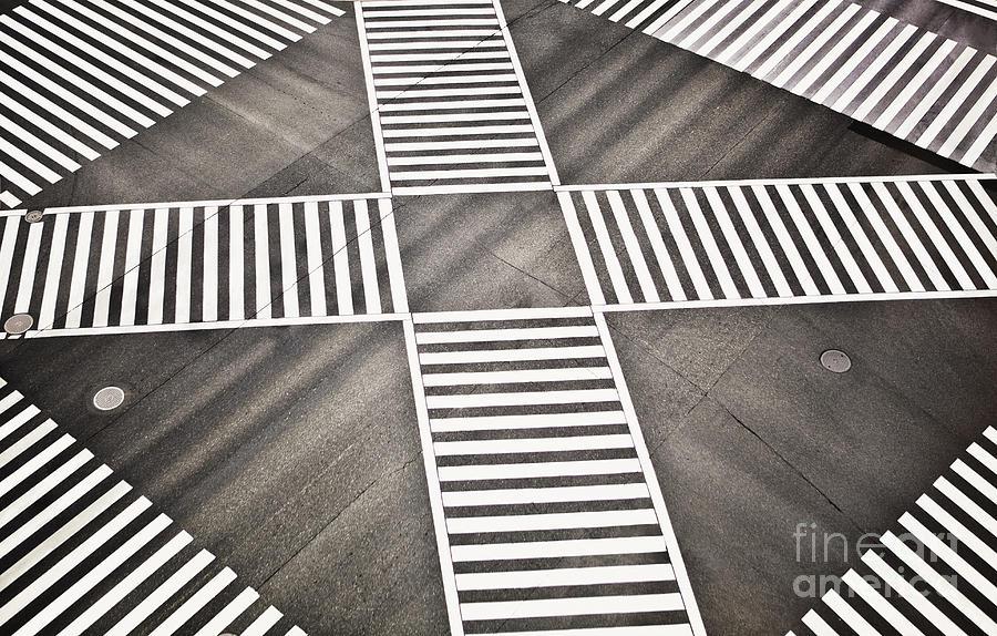 Crossing Photograph - Empty Crosswalk Shibuya Crossing by Bryan Mullennix
