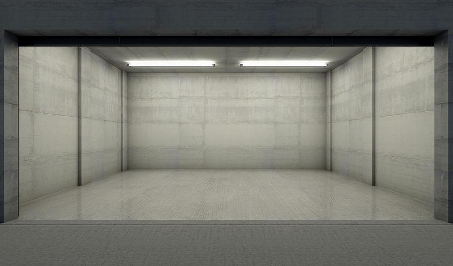 Garage Digital Art - Empty Double Garage Night by Allan Swart
