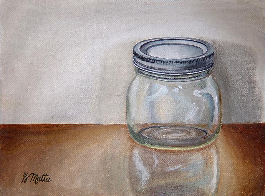 Mason Jar Painting - Empty by Gretchen Matta