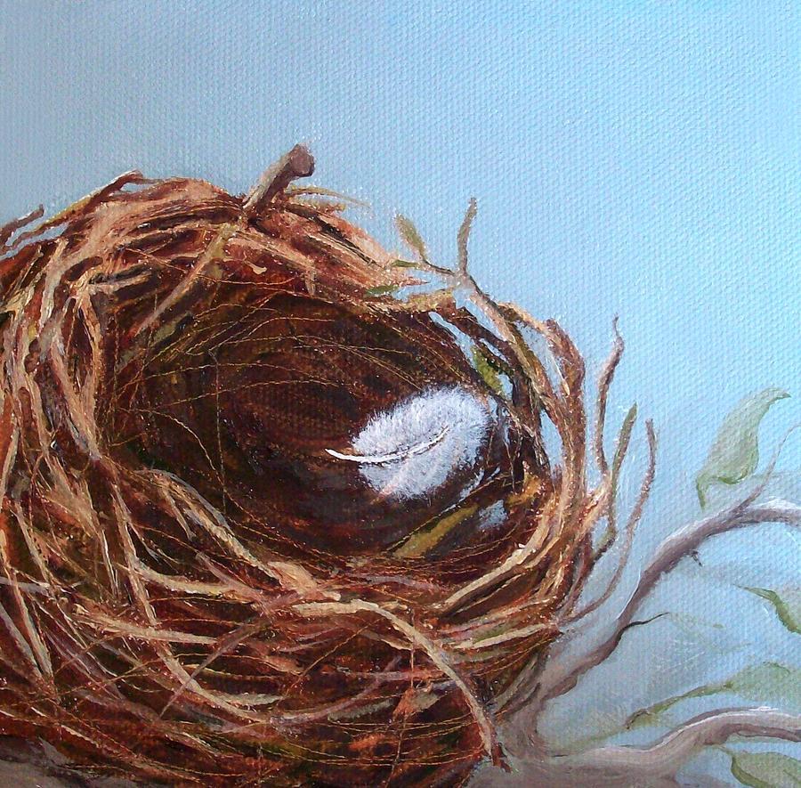 Empty Bird Nest Painting - Empty Nest by Irene Corey