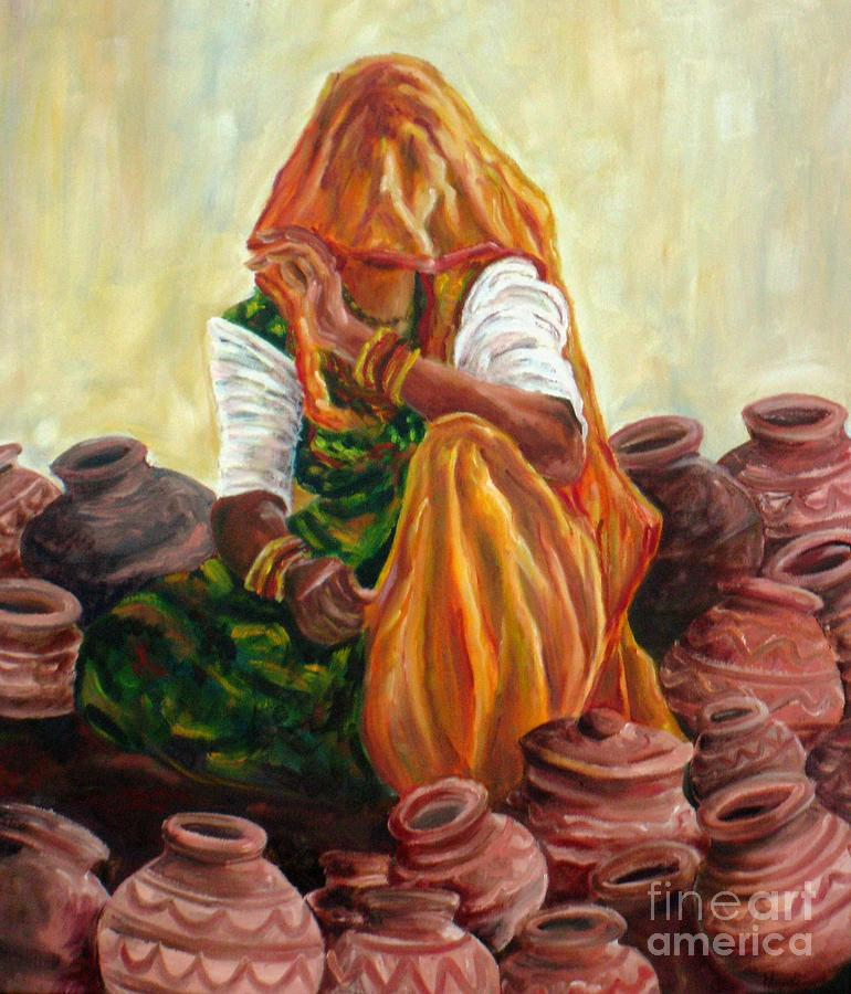 Rajasthan Painting - empty Pots...invisible Thoughts by Murali